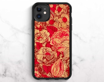 Real Wood iPhone Case iPhone XR Case Bamboo iPhone 11 Case iPhone 8 Case iPhone 11 Pro Case iPhone XS Case iPhone 8 Plus Case Floral Print