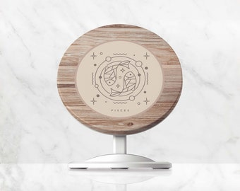 Wireless Charger, Wood Print Star Sign QI Charger, Charging Stand for iPhone, Samsung, Google Pixel, Huawei, Induction Phone Charger