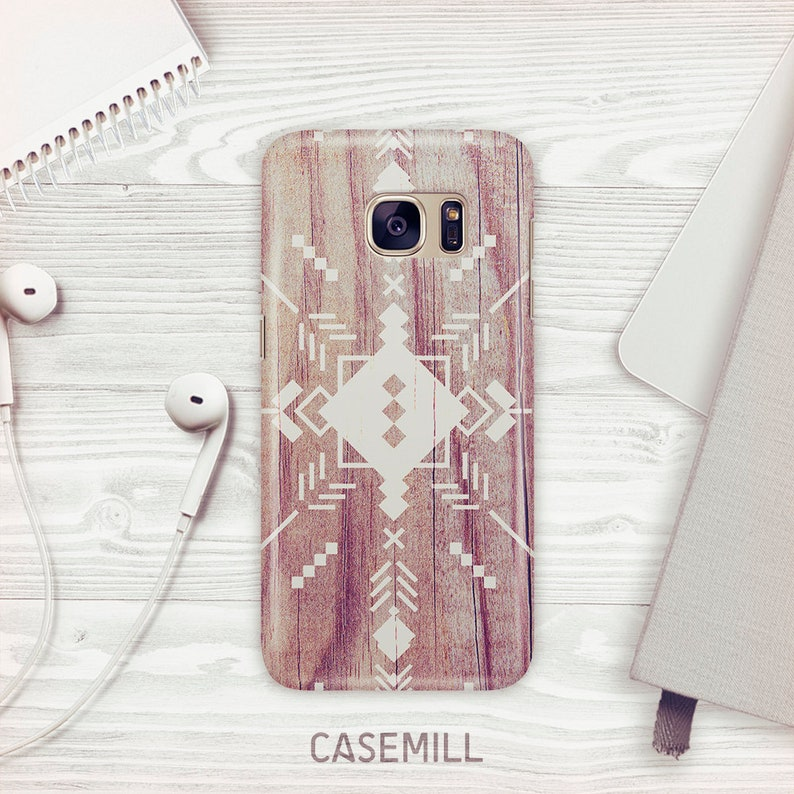 Aztec Wood Case For Samsung Galaxy S9 Tribal Case For Samsung image 0