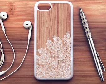 Bois plume iPhone 7 cas bois iPhone 6 s Case iPhone 6 Case Plus iPhone 6 s Case Plus iPhone 5 s Floral coque iPhone SE coque iPhone 5c cas