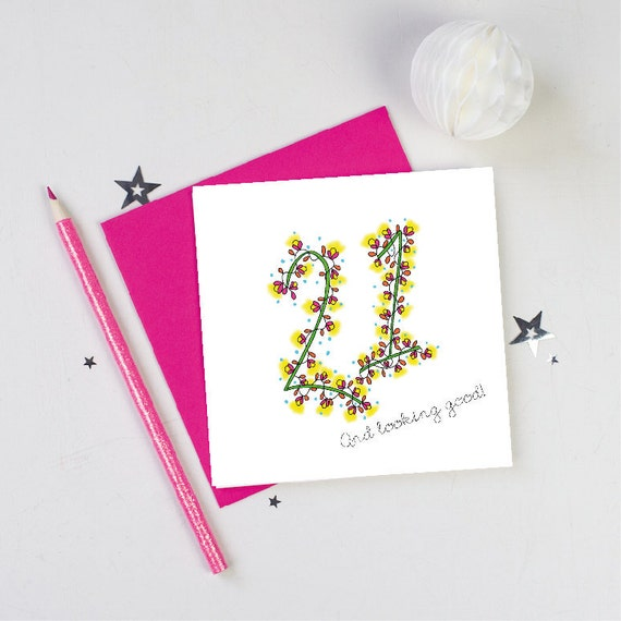 21st Birthday Birthday Card Flowers Floral 21st Card 21st Etsy