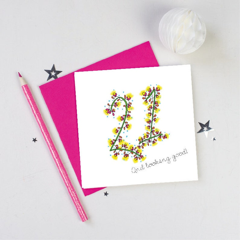 21st Birthday Card Flowers Floral