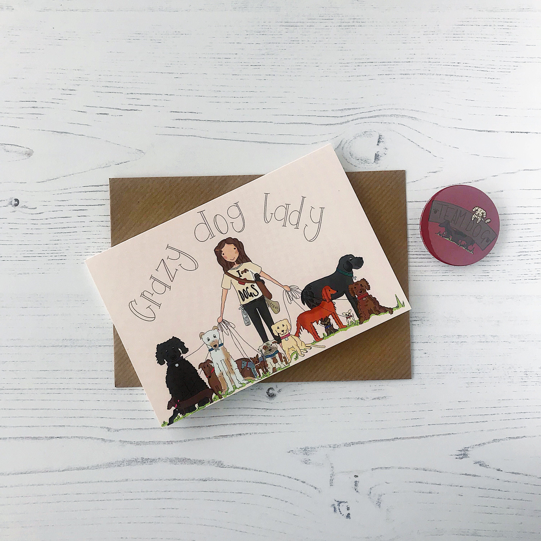 Birthday Cards Dog Harness Crazy Lady Funny