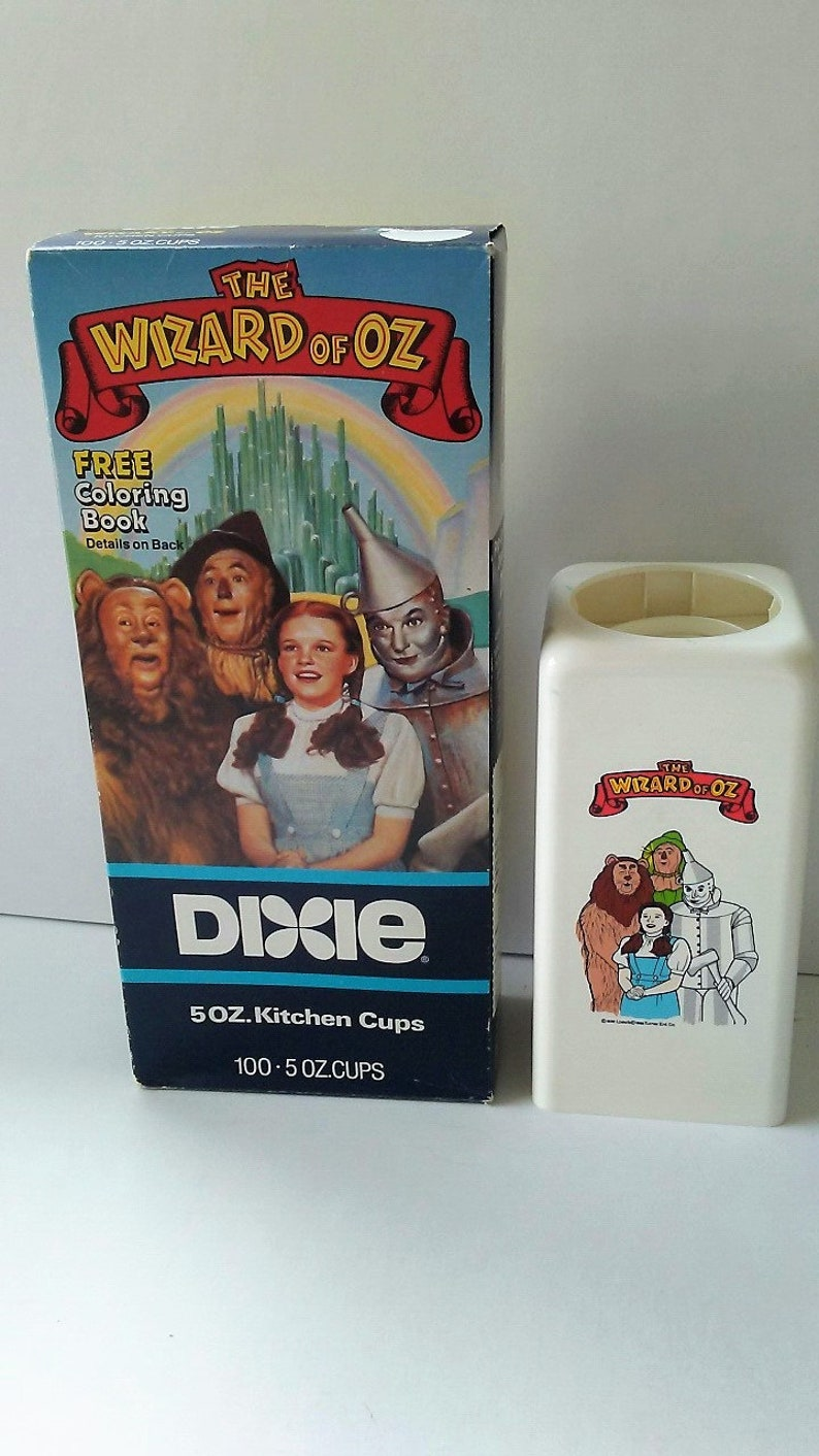 Vintage 1989 Wizard of Oz DIXIE Cups Dispenser & 100 count 5 ounce Kitchen  Cups Mint in Box ~ Dorothy ~ Scarecrow ~ Cowardly Lion ~ Tin Man