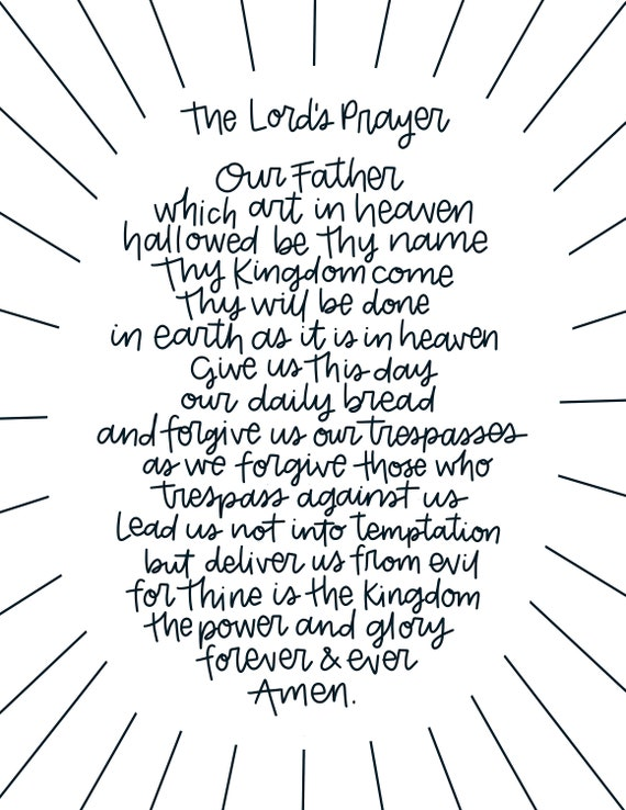 Art Print Pdf Modern Lord S Prayer Printable Download Art Etsy