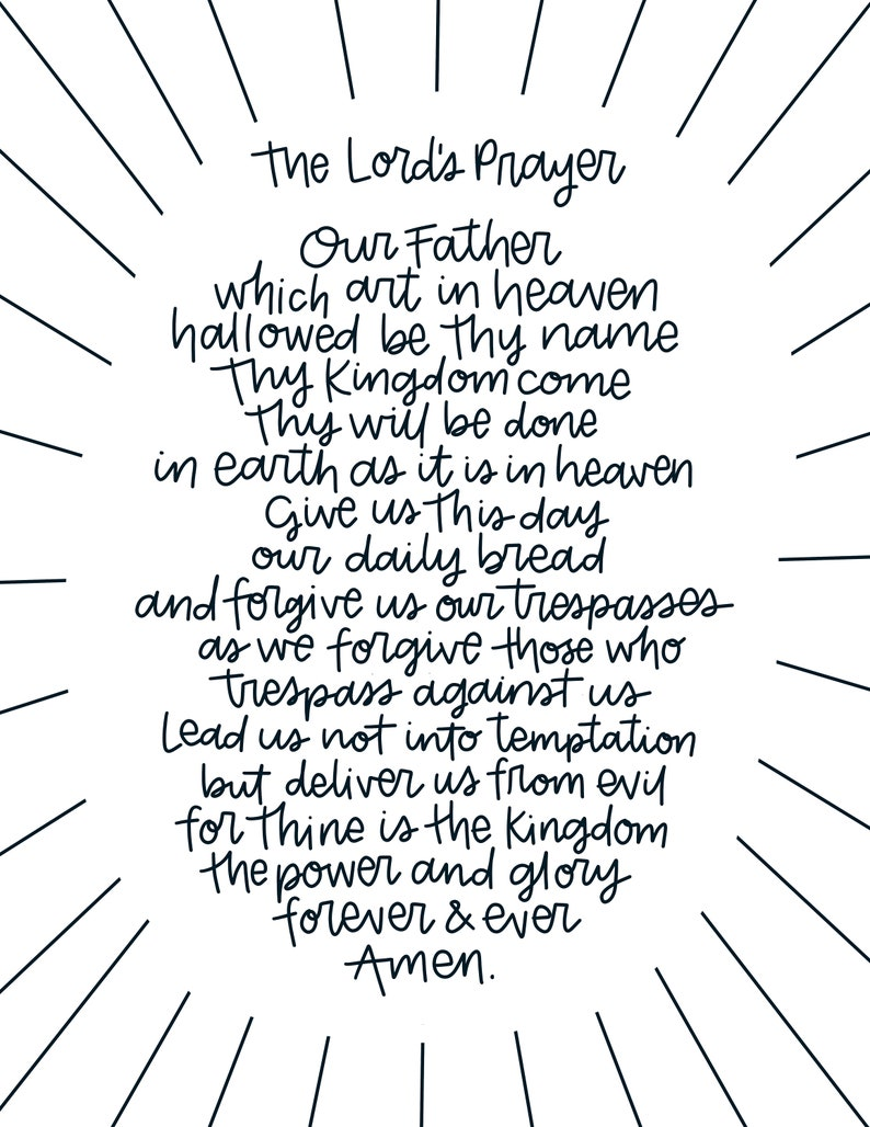 Soft image intended for printable copy of the lord's prayer