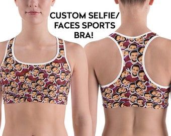 81f090522c Faces Sports Bra - Custom Face - Funny Sports Bra - Custom Sports Bra -  Work Out Clothes - Customized - Sports Bra - Gift for her - Selfie