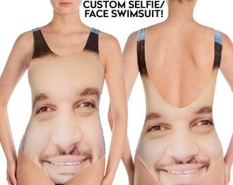 4cd2d65aa2 Face Swimsuit - Custom Face - Funny Swimsuit - Custom Swimsuit -  Personalized - Customized - Bathing Suit - Gift for her - Selfie Gift