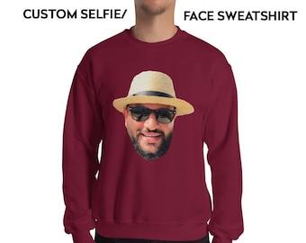 90f6da3ab1f4 Face Long Sweatshirt - Custom Face - Funny Sweatshirt - Custom Sweatshirt -  Funny Gift - Ugly Christmas Sweater - Christmas - Gift for him