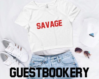 447ab6c09d3 Savage Crop Top - Savage - Feminist - Girl Power - Gift - Tumblr Top - Cute  - Crop Top - Graphic Crop Top - Graphic Tees - Street Style