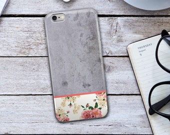 Concrete Iphone Case - Pink And Gray Iphone Case - Gray Iphone Case - Concrete Iphone 6 Case - Pink Iphone Case - Floral Iphone Case