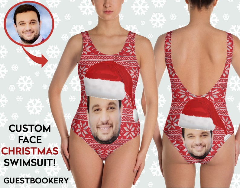94963e8cad CHRISTMAS Face Swimsuit Custom Face Funny Swimsuit