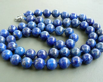 Round Small 6mm Shiny Natural Blue Lapis and Sterling Silver Bracelet Lapis Lazuli Sterling Bracelet Royal Blue Lapis Beaded Bracelet