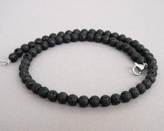 MC1002  Choker necklace with black lava beads