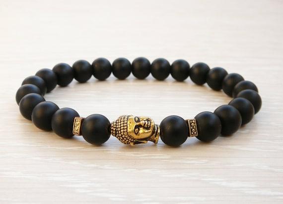 Pulsera elástica Mala Buda Yoga Perla negra Shungite 8mm
