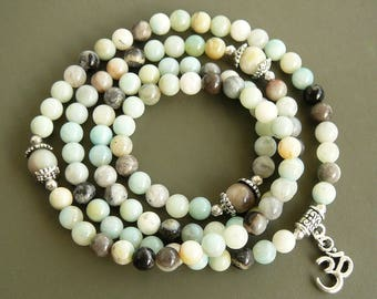 108 Mala Necklace Amazonite Necklace Zen Jewelry Amazonite Bracelet 108 Mala Beads 108 mala bead necklace Healing Mala Bracelet for women