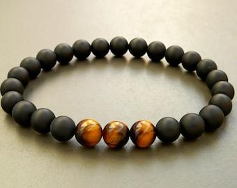 Mens Bracelet, Gift for men, Men's Black Onyx Bracelet, Tiger Eye bracelet, Beaded Bracelet, Bracelet for men, mens onyx bracelet, Mens gift