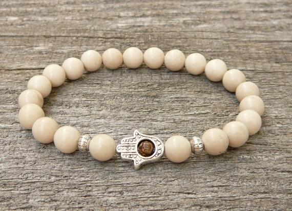 Hamsa Bracelet Womens Mens Bracelet Natural Fossil Beads Etsy
