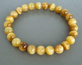 Yellow Tiger Eye Bracelet, Mens or Womens stretch Bracelet, Natural Stone Bracelet, Gemstone Bracelet, gift for him, gift for her, Honey