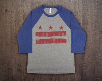 a72280cd3a0c3c D.C. FLAG - Mens Unisex Bella Canvas Tri-Blend 3 4 Sleeve Raglan T-Shirt -  vintage style stars and bars washington dc baseball jersey tee