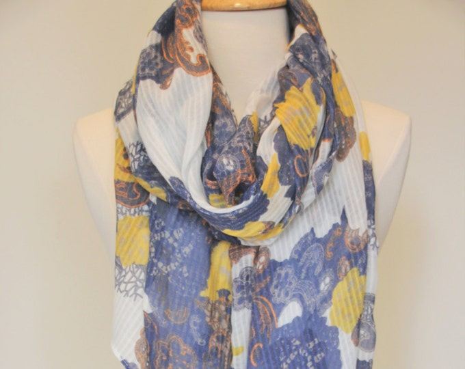 New Soft Silk Light Weight Flower Scarf Blue Yellow White Color