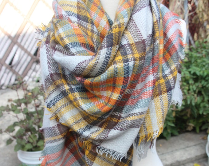 On Sale Now! New Lady Blanket Oversized Tartan Scarf Wrap Shawl Plaid Multi Color – Purple Yellow Red Checked