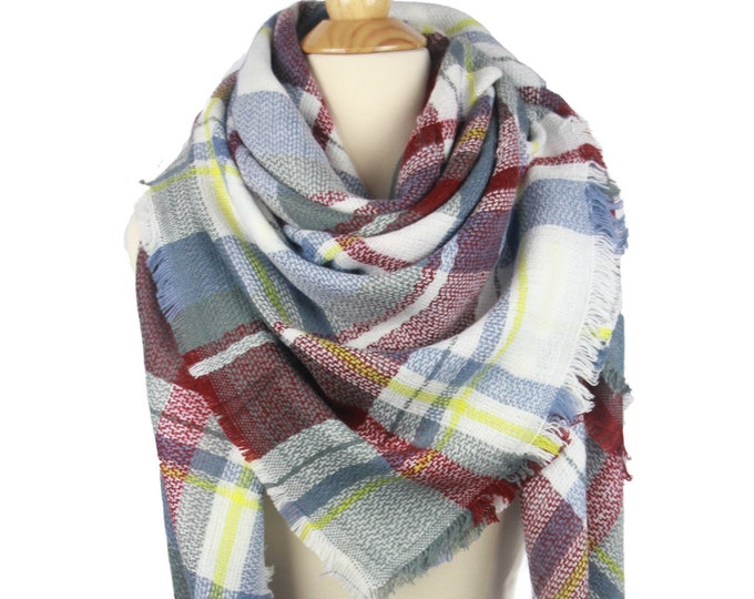 New 2018 Design Plaid Blanket Oversized Tartan Scarf Wrap Shawl Multi Color – Blue Brown Yellow Checked