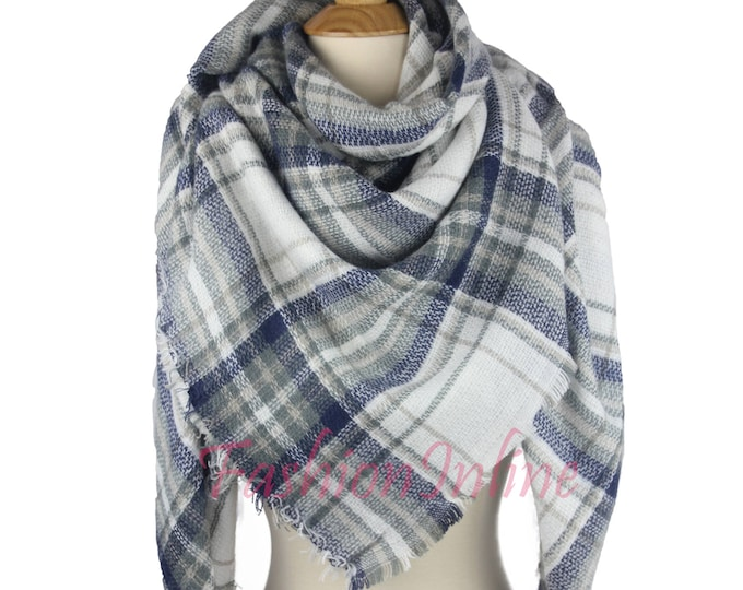 New Design Lady Blanket Oversized Tartan Scarf Wrap Shawl Plaid Multi Color – Navy Gray White