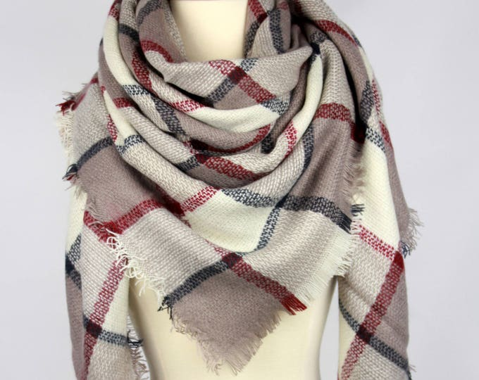 New Plaid Blanket Oversized Tartan Scarf Wrap Shawl Multi Color–Camel Red Beige