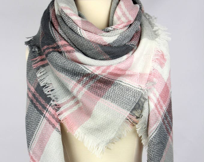 New Plaid Blanket Oversized Tartan Scarf Wrap Shawl Multi Color–Light Pink Gray White