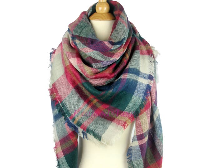 New Lady Blanket Oversized Tartan Scarf Wrap Shawl Plaid Green Multi Color - Evergreen Purple Checked