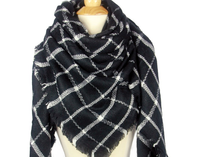 Black Checked Lady Blanket Oversized Tartan Scarf Wrap Shawl Plaid