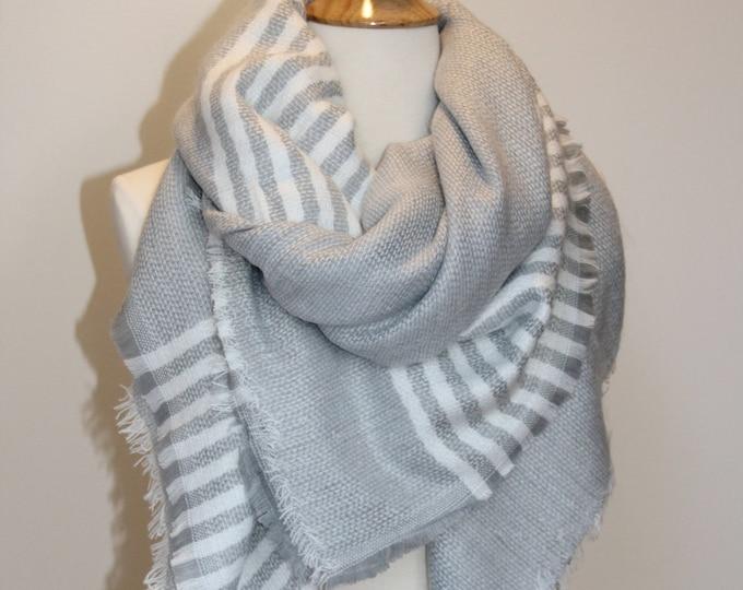 Sale! New Lady Blanket Oversized Tartan Scarf Wrap Shawl Plaid Multi Color – Gray White Stripe