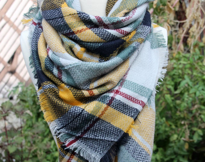New Lady Blanket Oversized Tartan Scarf Wrap Shawl Plaid Green Multi Color - Green Yellow Red Checked