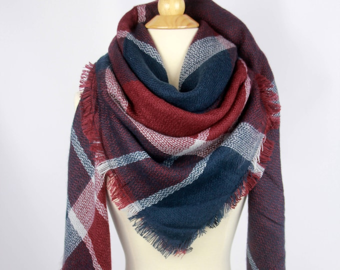 New Plaid Blanket Oversized Tartan Scarf Wrap Shawl Multi Color – Navy Purple Brown