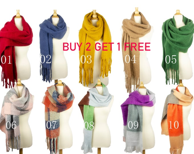 New Winter Oblong Soft Fuzzy Fluffy Oversized Blanket Shawl Wrap Scarf  With Tassels