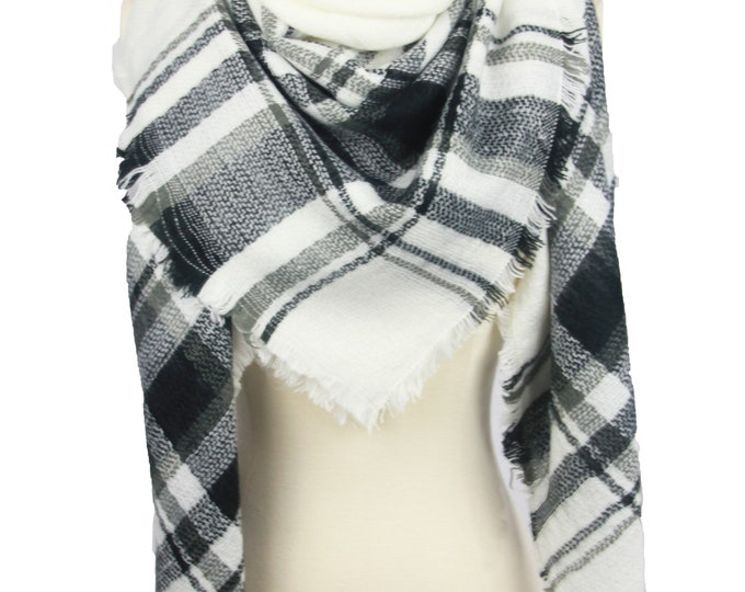 New Plaid Blanket Oversized Tartan Scarf Wrap Shawl Multi Color–Black White/ Red White Plaid