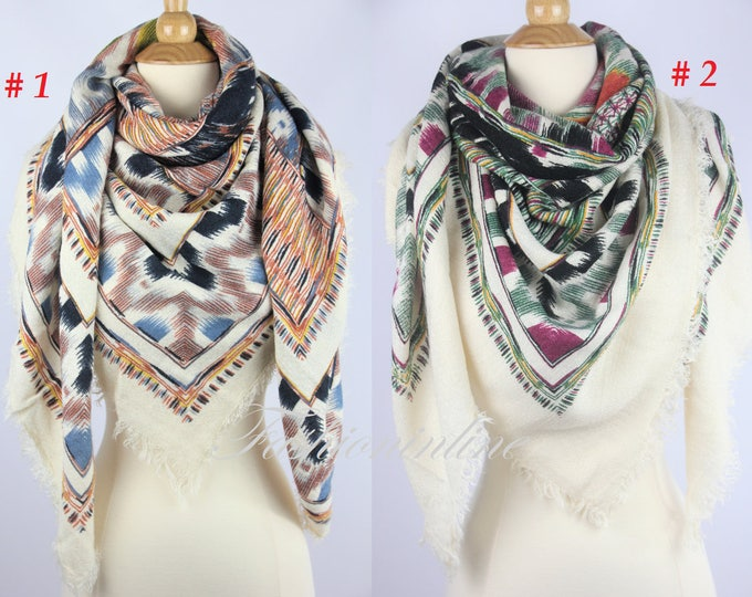 New Plaid Blanket Oversized Tartan Scarf Wrap Shawl Multi Color–Brown & Green Pattern