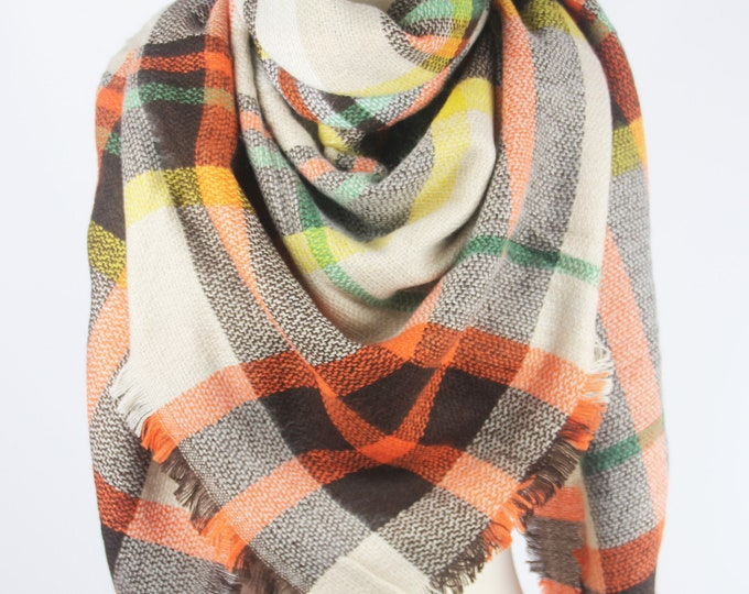 New Plaid Blanket Oversized Tartan Scarf Wrap Shawl Multi Color–Orange Brown Checked