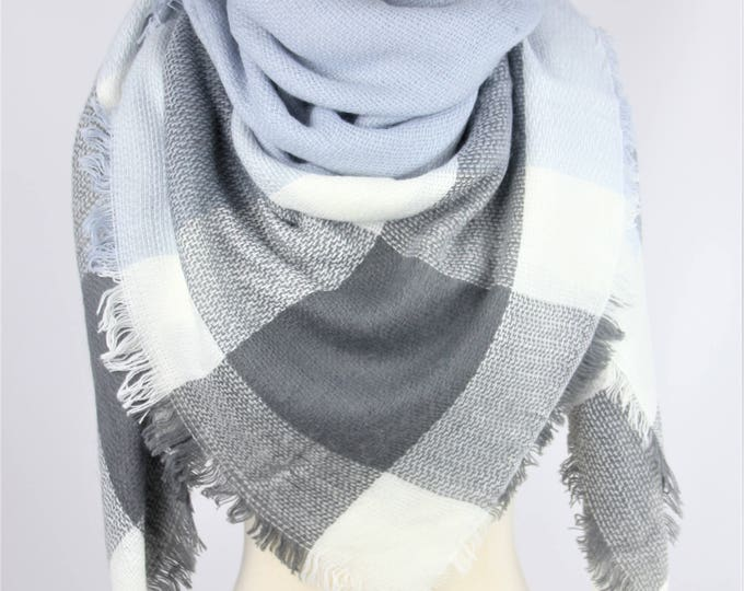 New Lady Blanket Oversized Tartan Scarf Wrap Shawl Plaid Multi Color – Grey Sky Blue