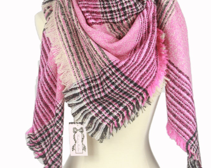 New Plaid Blanket Oversized Tartan Scarf Wrap Shawl Multi Color – Pink Checked