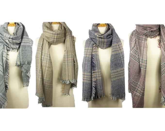 Sale! New Lady Blanket Oversized Tartan Scarf Wrap Shawl Plaid Orange Navy Checked