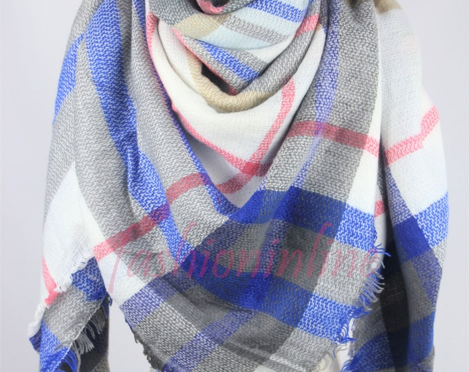 New Design Lady Blanket Oversized Tartan Scarf Wrap Shawl Plaid Multi Color – Blue Gray White