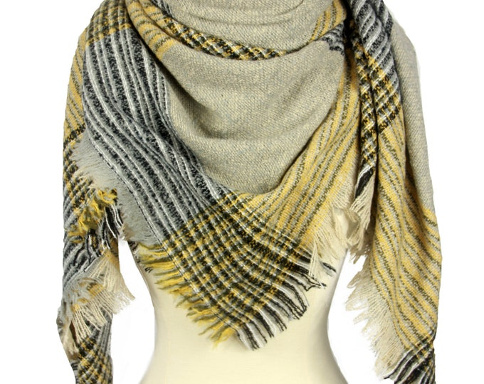 New Plaid Blanket Oversized Tartan Scarf Wrap Shawl Multi Color – Yellow Grey Checked