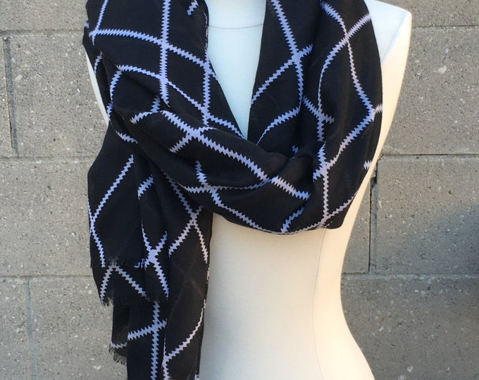 New Soft Silk Light Weight Scarf Black White Checked Plaid