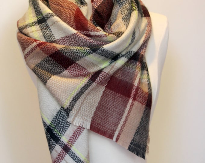 New Lady Blanket Oversized Tartan Scarf Wrap Shawl Plaid Multi Color – Brown Black Neon-Yellow Checked