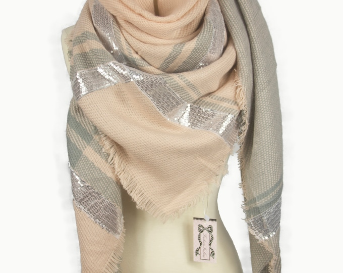 New Plaid Blanket Oversized Tartan Scarf Wrap Shawl Multi Color – Camel Sparkle Checked