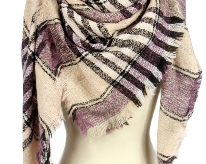 New Plaid Blanket Oversized Tartan Scarf Wrap Shawl Multi Color – Purple Camel Checked