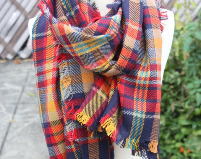 Sale! New Lady Blanket Oversized Tartan Scarf Wrap Shawl Plaid Orange Navy Checked