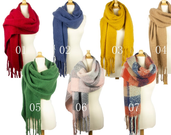 New Winter Long Soft Fuzzy Fluffy Oversized Blanket Shawl Wrap Scarf  With Fringes